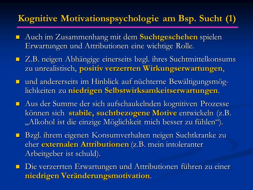 Kognitive Motivationspsychologie am Bsp. Sucht (1) Auch im Zusammenhang mit dem Suchtgeschehen spielen Erwartungen und Attributionen eine wichtige Rol