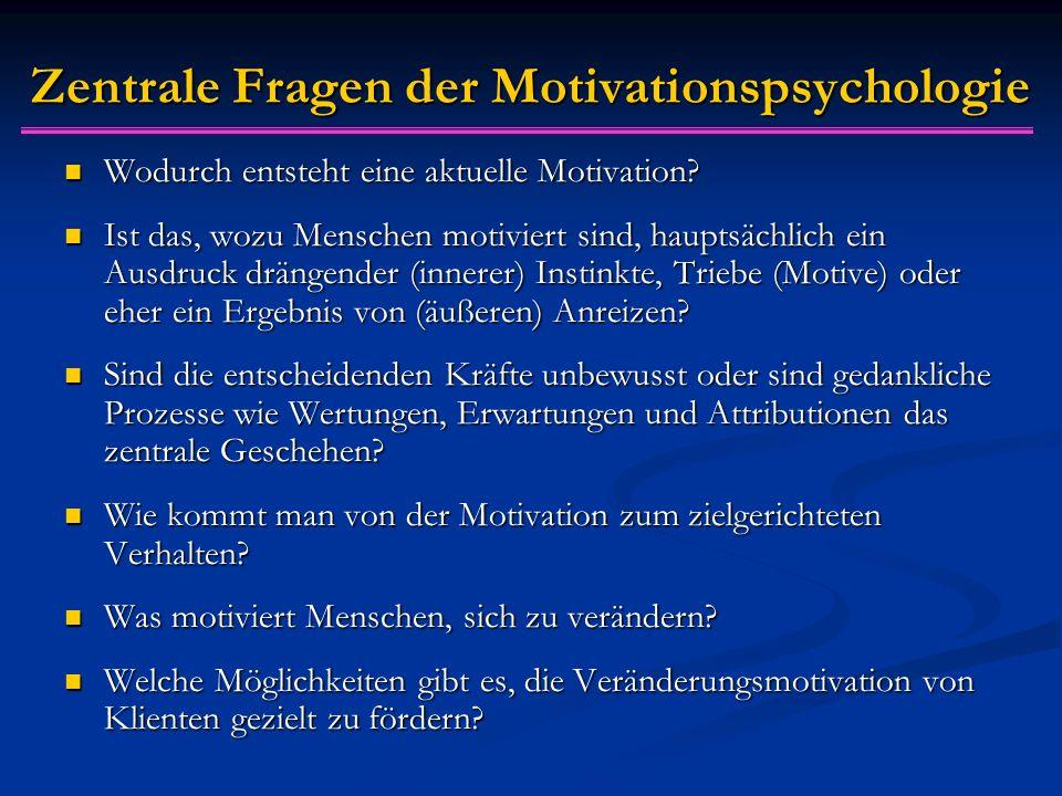 Zentrale Fragen der Motivationspsychologie Wodurch entsteht eine aktuelle Motivation? Wodurch entsteht eine aktuelle Motivation? Ist das, wozu Mensche