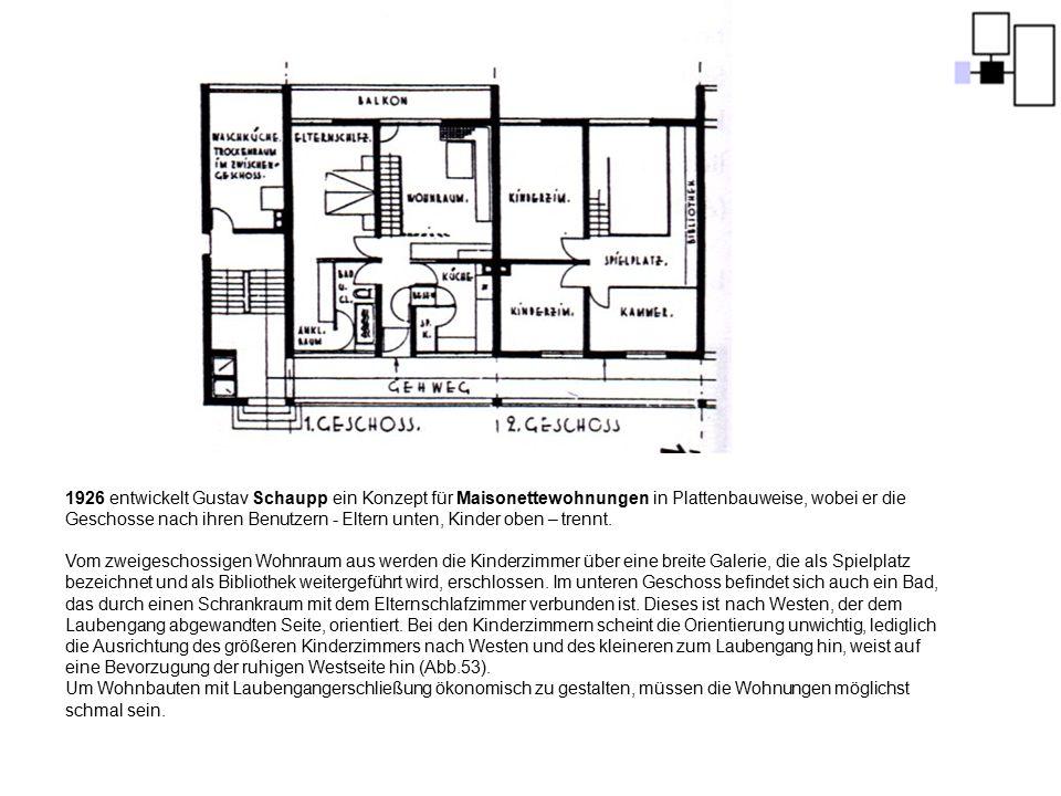 1926 entwickelt Gustav Schaupp ein Konzept für Maisonettewohnungen in Plattenbauweise, wobei er die Geschosse nach ihren Benutzern - Eltern unten, Kin