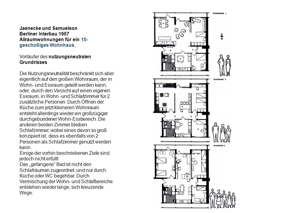 Jaenecke und Samuelson Berliner Interbau 1957 Allraumwohnungen für ein 10- geschoßiges Wohnhaus, Vorläufer des nutzungsneutralen Grundrisses Die Nutzu