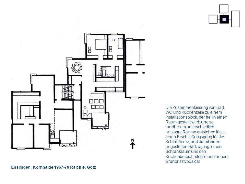 Esslingen, Kornhalde 1967-70 Raichle, Götz Die Zusammenfassung von Bad, WC und Küchenzeile zu einem Installationsblock, der frei in einen Raum gestell