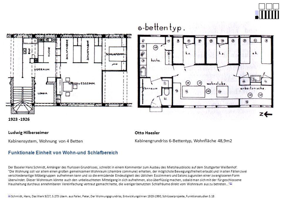Otto Haesler Kabinengrundriss 6-Bettentyp, Wohnfläche 48,9m2 1923 -1926 Ludwig Hilberseimer Kabinensystem, Wohnung von 4 Betten Der Baseler Hans Schmi