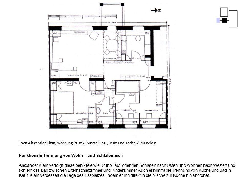 """1928 Alexander Klein, Wohnung 76 m2, Ausstellung """"Heim und Technik"""" München Funktionale Trennung von Wohn – und Schlafbereich Alexander Klein verfolgt"""