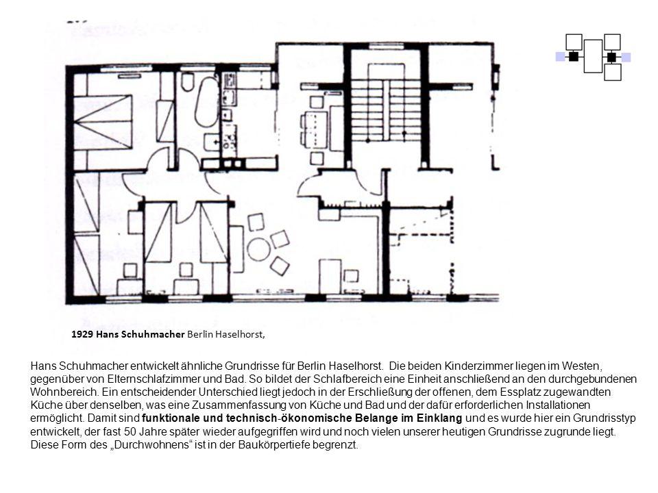 1929 Hans Schuhmacher Berlin Haselhorst, Hans Schuhmacher entwickelt ähnliche Grundrisse für Berlin Haselhorst. Die beiden Kinderzimmer liegen im West