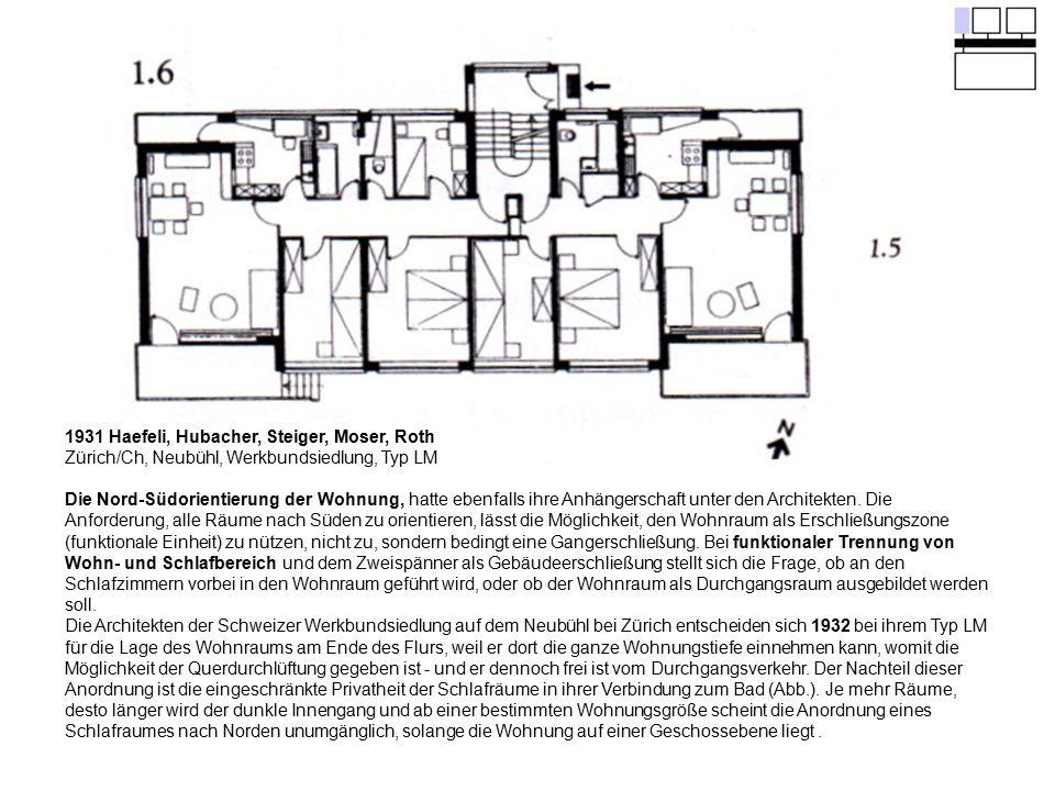 1931 Haefeli, Hubacher, Steiger, Moser, Roth Zürich/Ch, Neubühl, Werkbundsiedlung, Typ LM Die Nord-Südorientierung der Wohnung, hatte ebenfalls ihre A