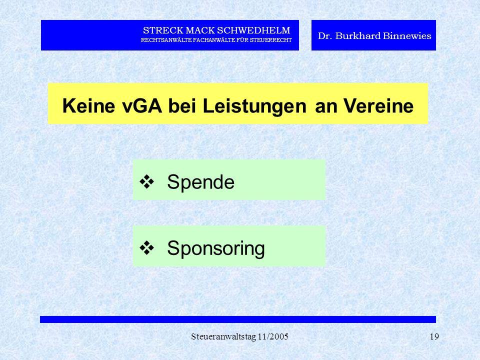 Steueranwaltstag 11/200519 STRECK MACK SCHWEDHELM RECHTSANWÄLTE FACHANWÄLTE FÜR STEUERRECHT Dr.