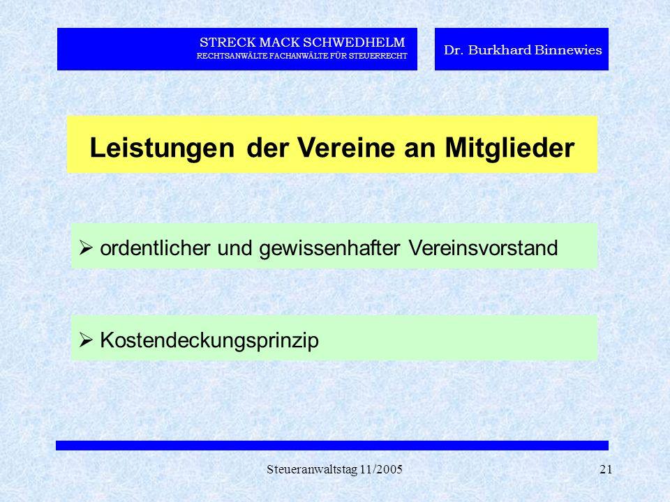 Steueranwaltstag 11/200521 STRECK MACK SCHWEDHELM RECHTSANWÄLTE FACHANWÄLTE FÜR STEUERRECHT Dr. Burkhard Binnewies Leistungen der Vereine an Mitgliede