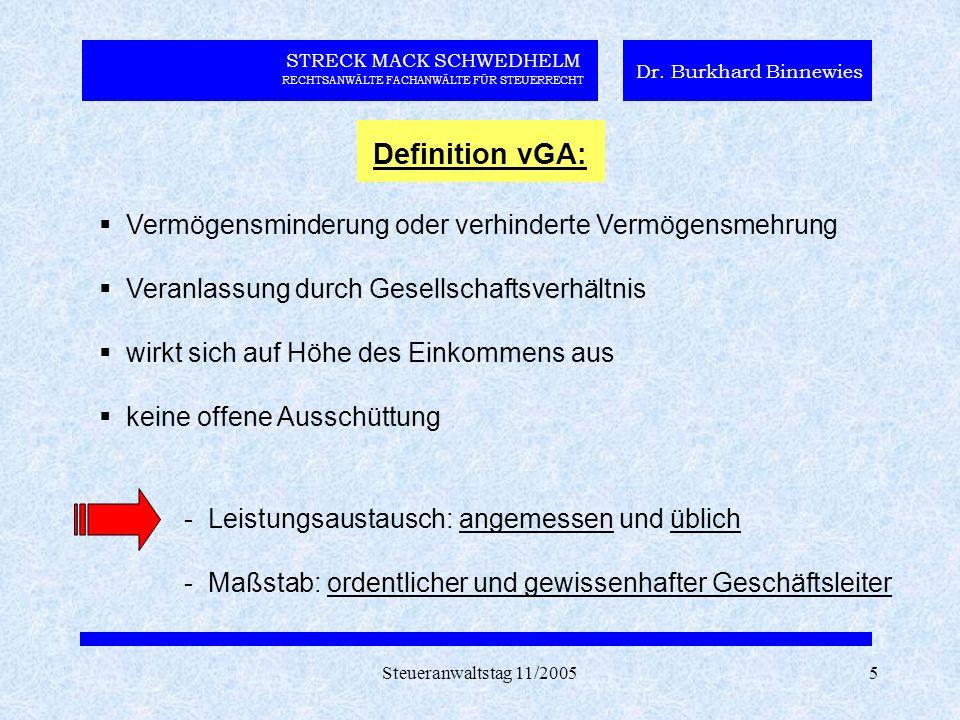 Steueranwaltstag 11/20055 STRECK MACK SCHWEDHELM RECHTSANWÄLTE FACHANWÄLTE FÜR STEUERRECHT Dr. Burkhard Binnewies Definition vGA:  Vermögensminderung