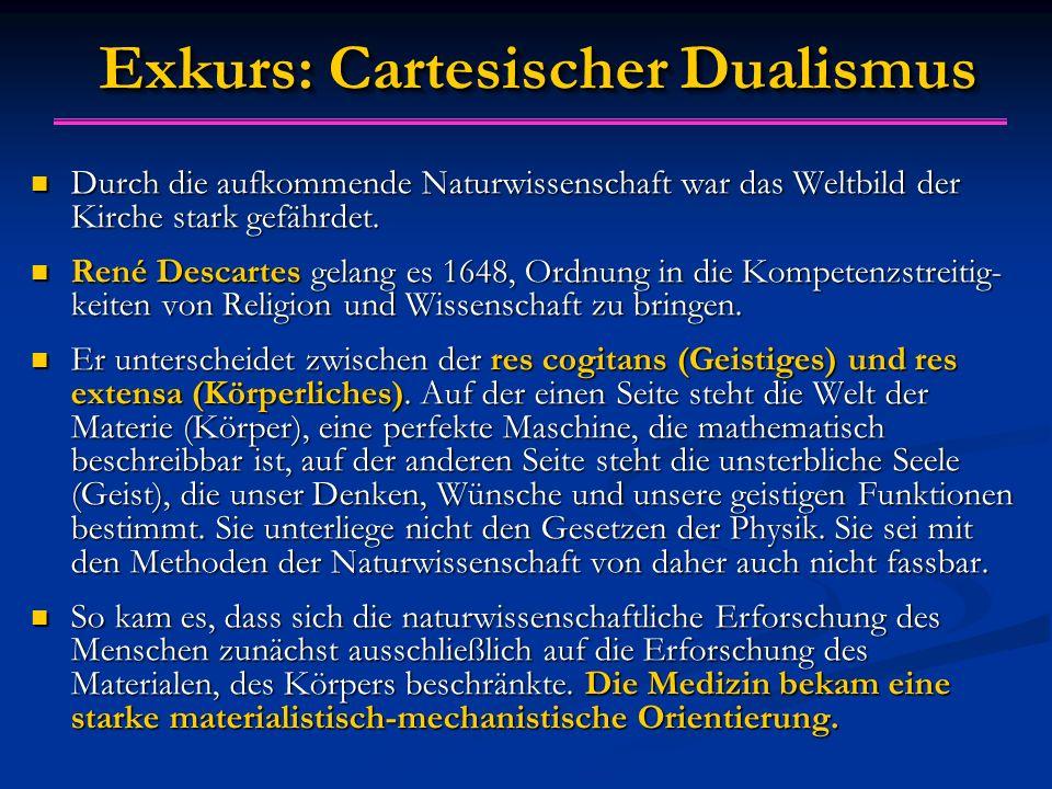Exkurs: Cartesischer Dualismus Durch die aufkommende Naturwissenschaft war das Weltbild der Kirche stark gefährdet. Durch die aufkommende Naturwissens