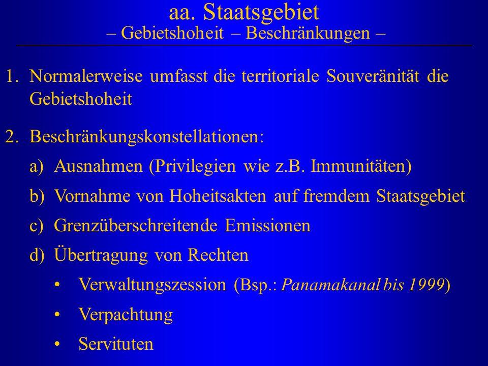 aa. Staatsgebiet – Gebietshoheit – Beschränkungen – 2.Beschränkungskonstellationen: a)Ausnahmen (Privilegien wie z.B. Immunitäten) b)Vornahme von Hohe