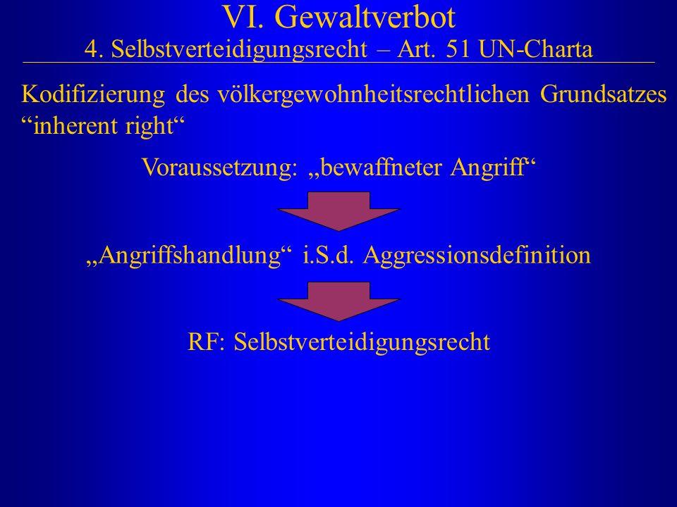 """VI. Gewaltverbot 4. Selbstverteidigungsrecht – Art. 51 UN-Charta Voraussetzung: """"bewaffneter Angriff"""" """"Angriffshandlung"""" i.S.d. Aggressionsdefinition"""