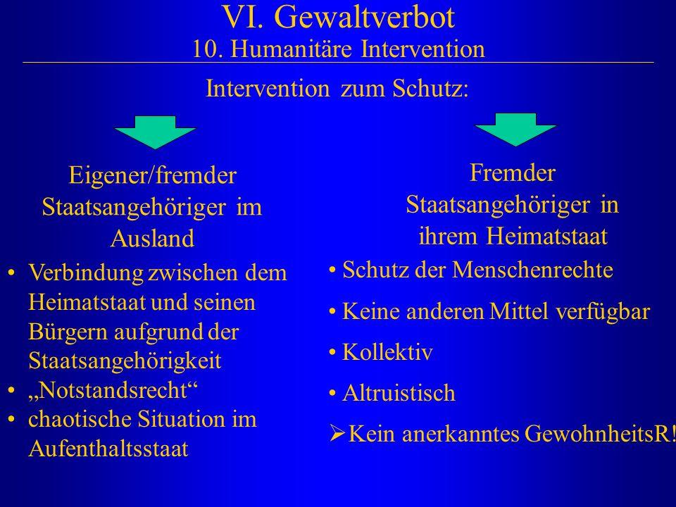 VI. Gewaltverbot 10. Humanitäre Intervention Intervention zum Schutz: Eigener/fremder Staatsangehöriger im Ausland Fremder Staatsangehöriger in ihrem