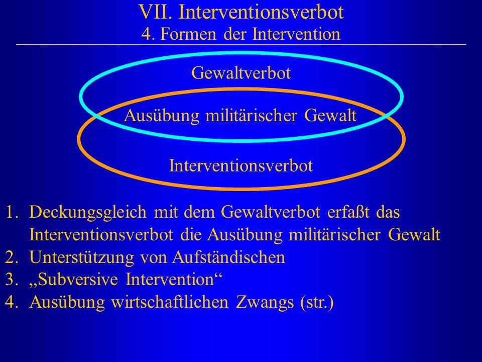 VII. Interventionsverbot 4. Formen der Intervention Ausübung militärischer Gewalt Interventionsverbot Gewaltverbot 1.Deckungsgleich mit dem Gewaltverb