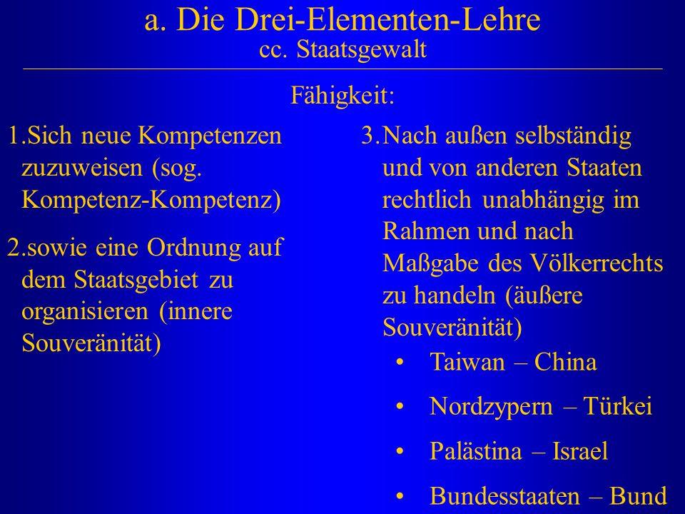 a. Die Drei-Elementen-Lehre cc. Staatsgewalt Fähigkeit: 1.Sich neue Kompetenzen zuzuweisen (sog. Kompetenz-Kompetenz) 2.sowie eine Ordnung auf dem Sta