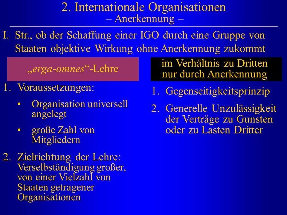 2. Internationale Organisationen – Anerkennung – I.Str., ob der Schaffung einer IGO durch eine Gruppe von Staaten objektive Wirkung ohne Anerkennung z