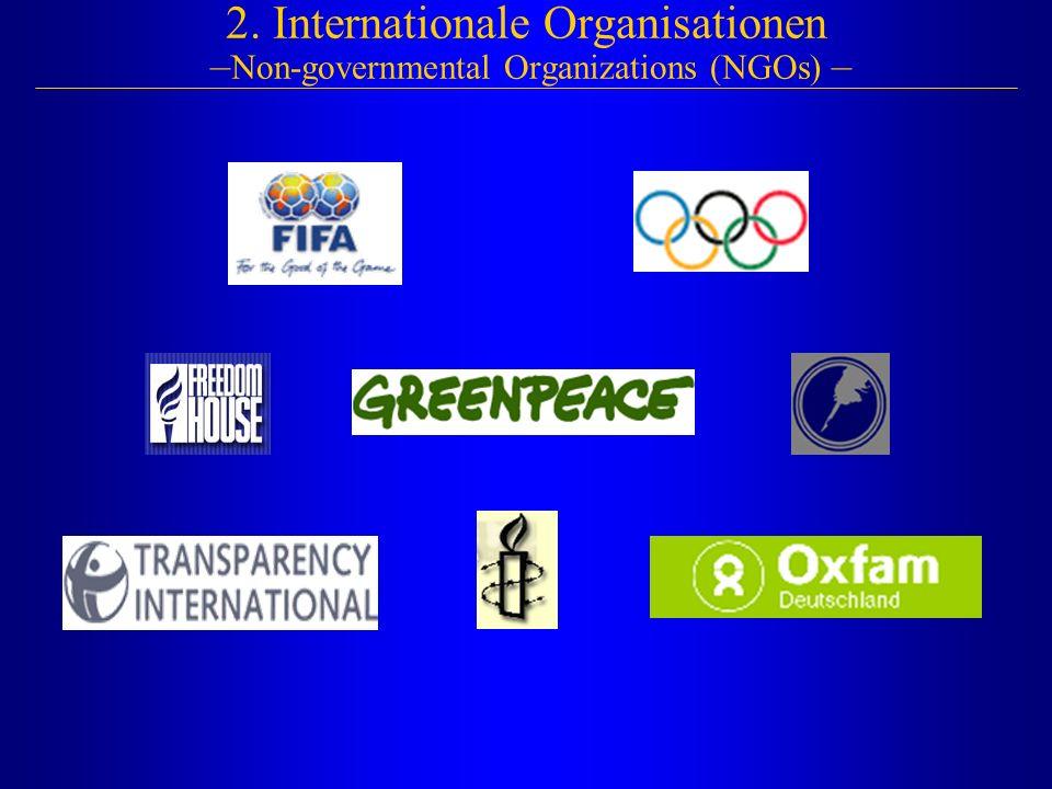 2. Internationale Organisationen – Non-governmental Organizations (NGOs) –