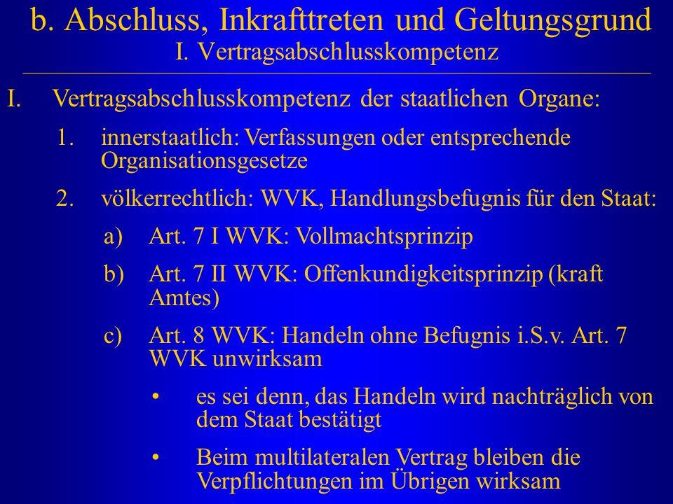 b. Abschluss, Inkrafttreten und Geltungsgrund I. Vertragsabschlusskompetenz I.Vertragsabschlusskompetenz der staatlichen Organe: 1.innerstaatlich: Ver