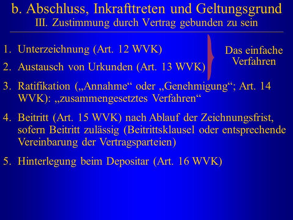 b. Abschluss, Inkrafttreten und Geltungsgrund III. Zustimmung durch Vertrag gebunden zu sein 1.Unterzeichnung (Art. 12 WVK) 2.Austausch von Urkunden (