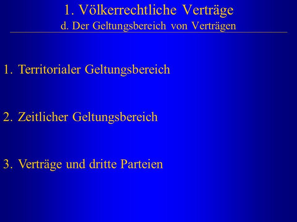 1. Völkerrechtliche Verträge d. Der Geltungsbereich von Verträgen 1.Territorialer Geltungsbereich 2.Zeitlicher Geltungsbereich 3.Verträge und dritte P