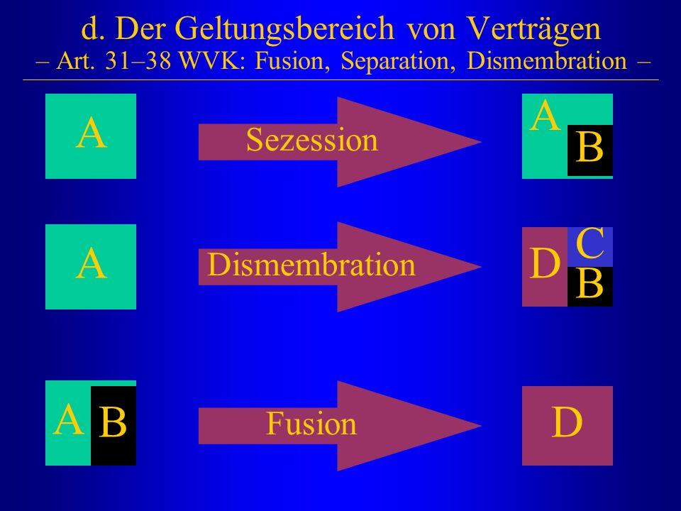 A d. Der Geltungsbereich von Verträgen – Art. 31–38 WVK: Fusion, Separation, Dismembration – Sezession B A A D D A B C B Dismembration Fusion