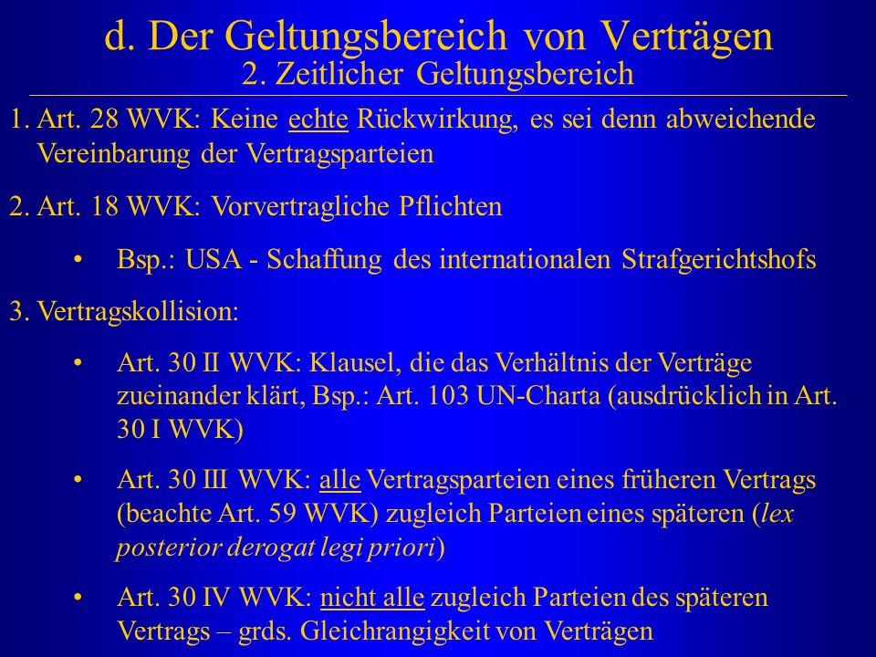 d. Der Geltungsbereich von Verträgen 2. Zeitlicher Geltungsbereich 1.Art. 28 WVK: Keine echte Rückwirkung, es sei denn abweichende Vereinbarung der Ve