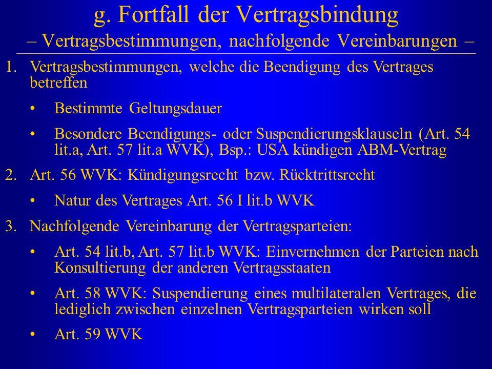 g. Fortfall der Vertragsbindung – Vertragsbestimmungen, nachfolgende Vereinbarungen – 1.Vertragsbestimmungen, welche die Beendigung des Vertrages betr
