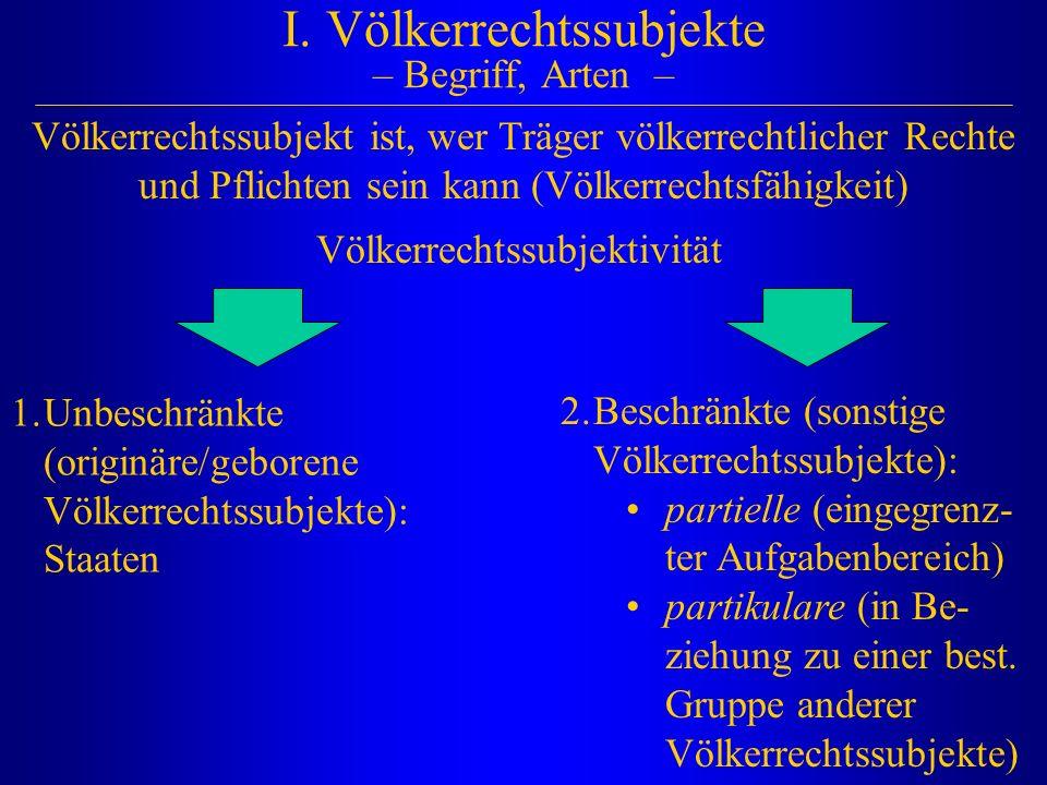 I. Völkerrechtssubjekte – Begriff, Arten – 1.Unbeschränkte (originäre/geborene Völkerrechtssubjekte): Staaten 2.Beschränkte (sonstige Völkerrechtssubj