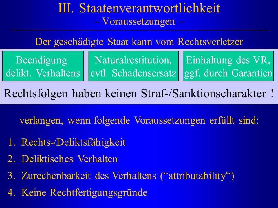 Rechtsfolgen haben keinen Straf-/Sanktionscharakter ! III. Staatenverantwortlichkeit – Voraussetzungen – 1.Rechts-/Deliktsfähigkeit 2.Deliktisches Ver