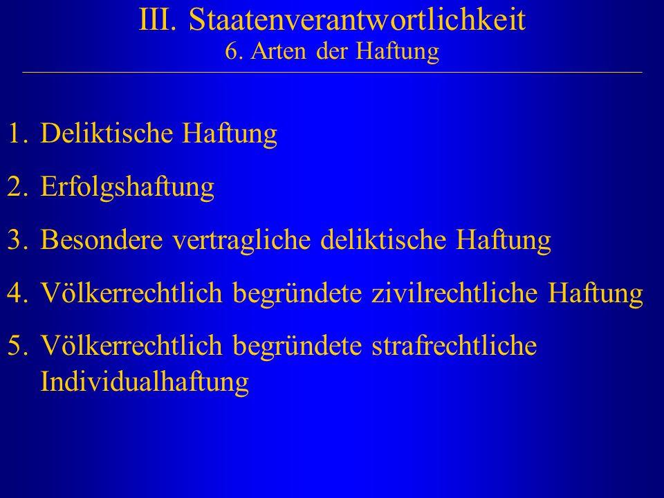 III. Staatenverantwortlichkeit 6. Arten der Haftung 1.Deliktische Haftung 2.Erfolgshaftung 3.Besondere vertragliche deliktische Haftung 4.Völkerrechtl