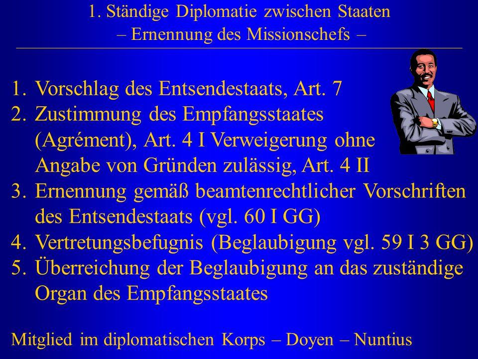 1. Ständige Diplomatie zwischen Staaten – Ernennung des Missionschefs – 1.Vorschlag des Entsendestaats, Art. 7 2.Zustimmung des Empfangsstaates (Agrém