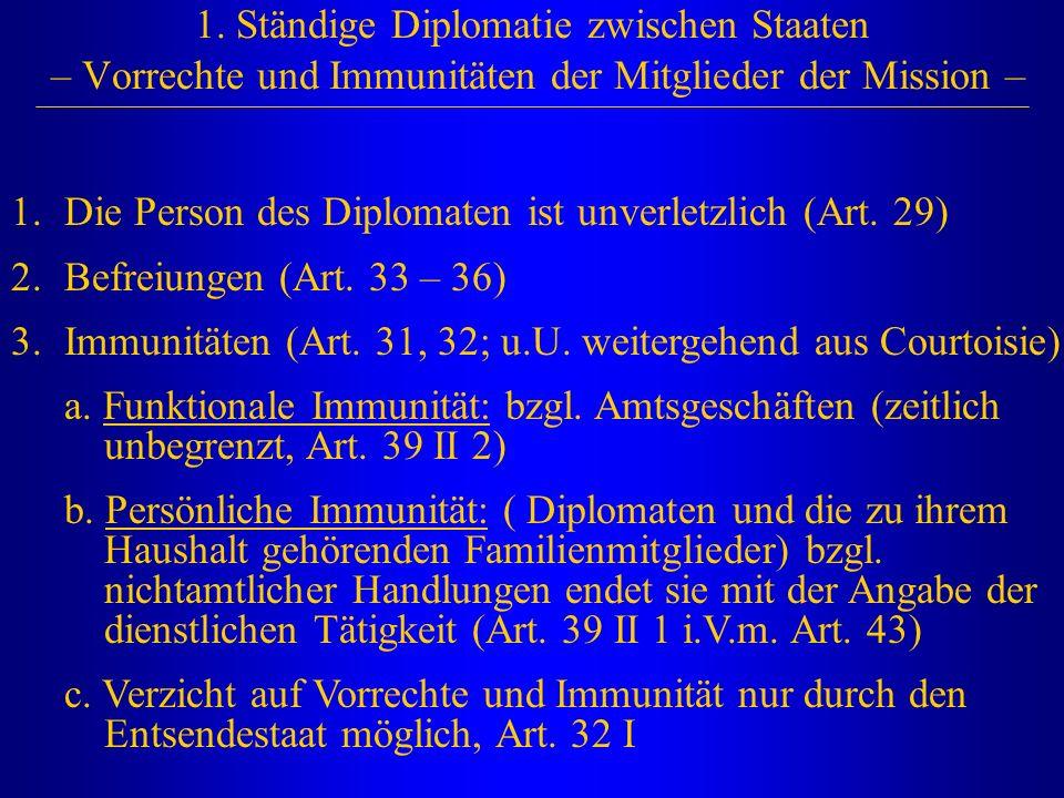 1. Ständige Diplomatie zwischen Staaten – Vorrechte und Immunitäten der Mitglieder der Mission – 1.Die Person des Diplomaten ist unverletzlich (Art. 2
