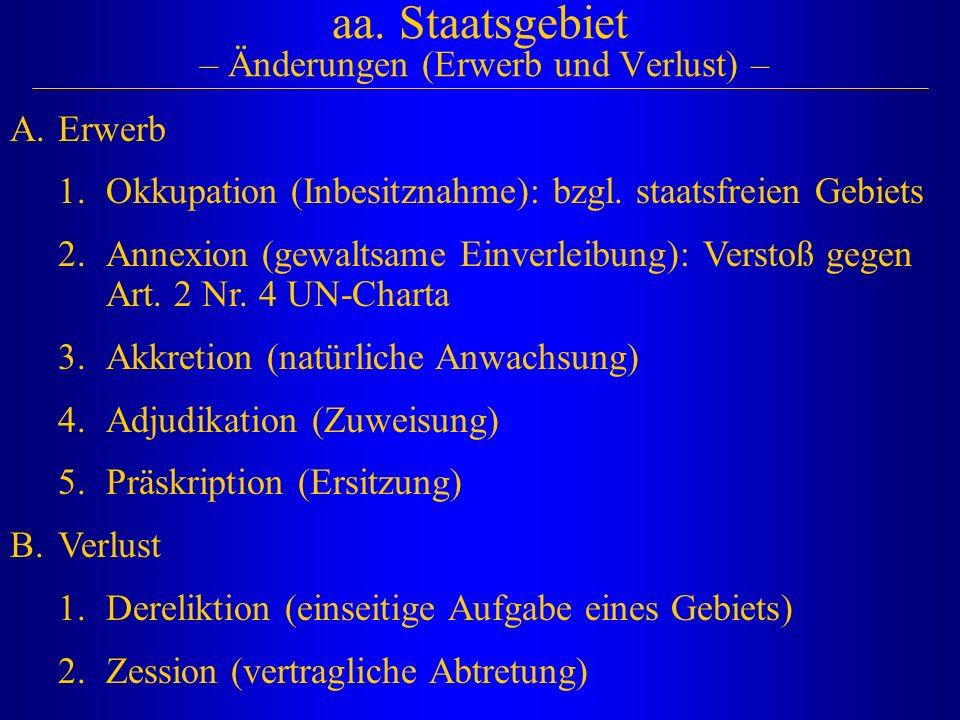 aa. Staatsgebiet – Änderungen (Erwerb und Verlust) – A.Erwerb 1.Okkupation (Inbesitznahme): bzgl. staatsfreien Gebiets 2.Annexion (gewaltsame Einverle