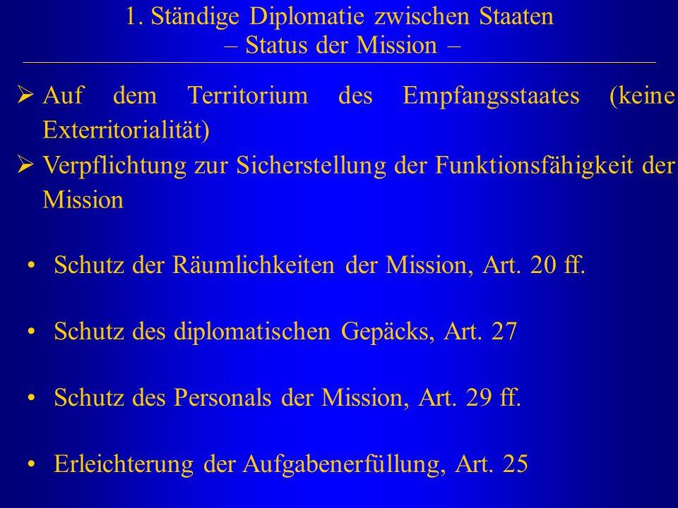 1. Ständige Diplomatie zwischen Staaten – Status der Mission –  Auf dem Territorium des Empfangsstaates (keine Exterritorialität)  Verpflichtung zur