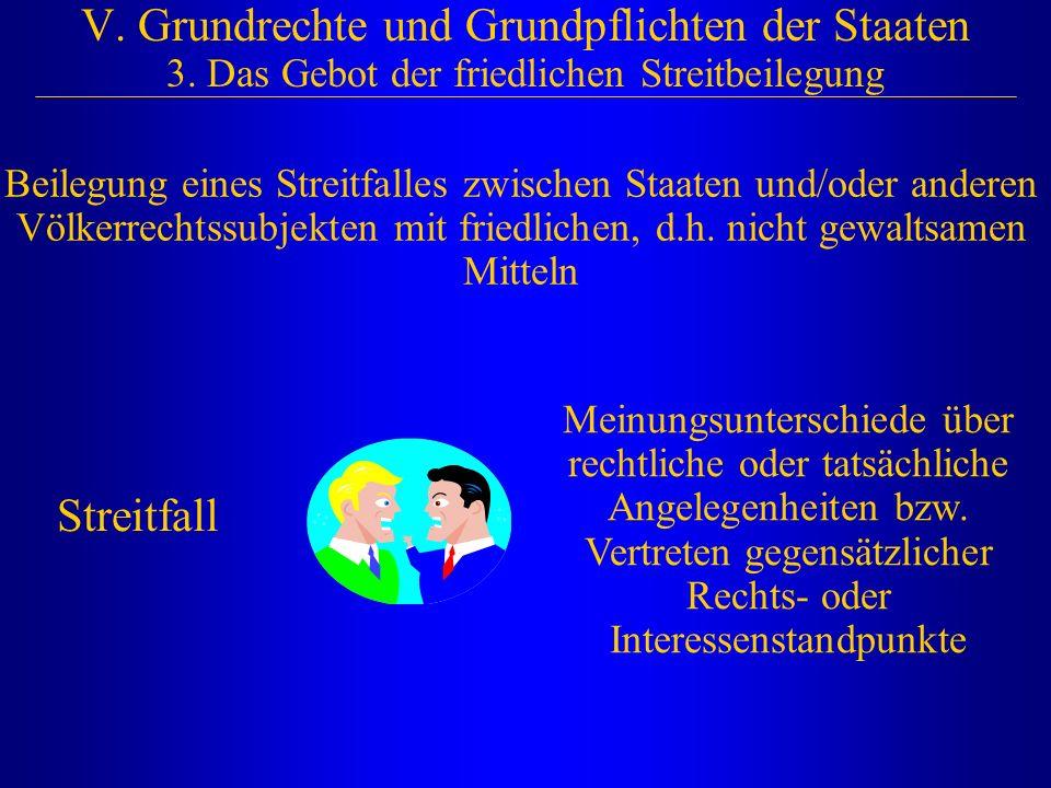 V. Grundrechte und Grundpflichten der Staaten 3. Das Gebot der friedlichen Streitbeilegung Beilegung eines Streitfalles zwischen Staaten und/oder ande