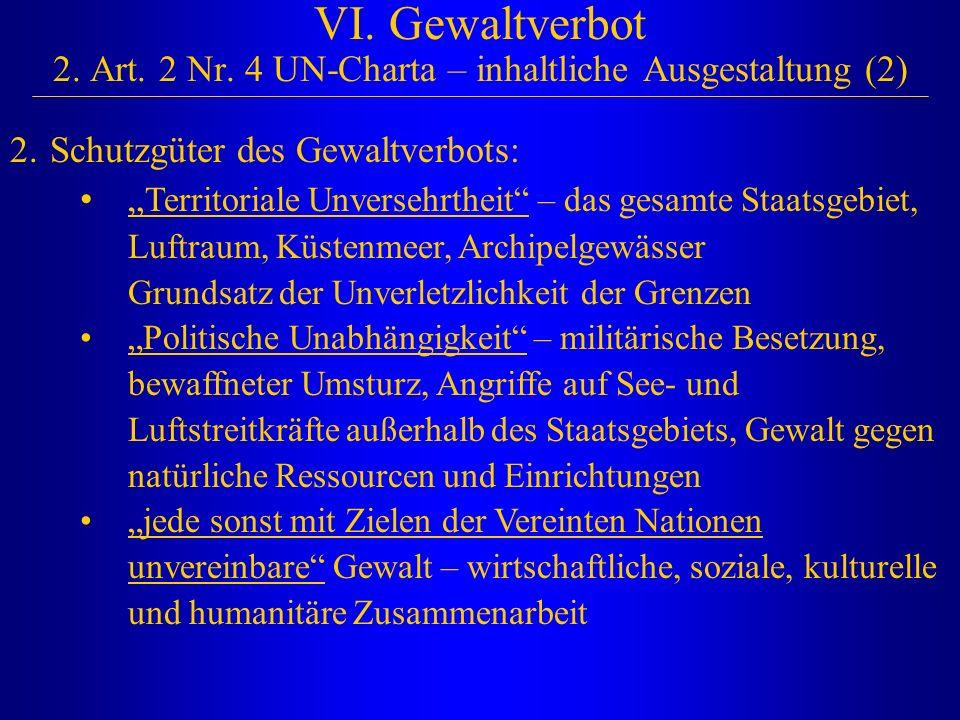 """VI. Gewaltverbot 2. Art. 2 Nr. 4 UN-Charta – inhaltliche Ausgestaltung (2) 2.Schutzgüter des Gewaltverbots: """" Territoriale Unversehrtheit"""" – das gesam"""