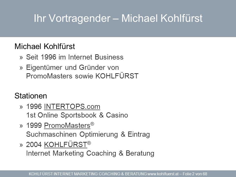 KOHLFÜRST INTERNET MARKETING COACHING & BERATUNG www.kohlfuerst.at – Folie 63 von 68 Online Krisenmanagement
