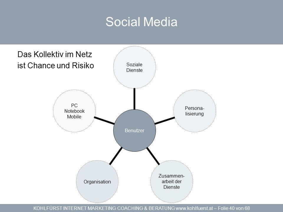 KOHLFÜRST INTERNET MARKETING COACHING & BERATUNG www.kohlfuerst.at – Folie 40 von 68 Social Media Das Kollektiv im Netz ist Chance und Risiko Benutzer