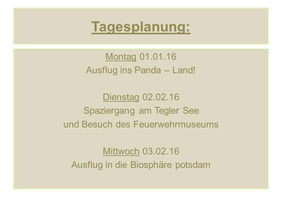 Tagesplanung: Montag 01.01.16 Ausflug ins Panda – Land! Dienstag 02.02.16 Spaziergang am Tegler See und Besuch des Feuerwehrmuseums Mittwoch 03.02.16