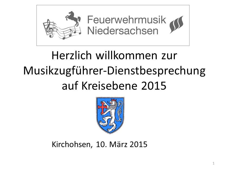 Herzlich willkommen zur Musikzugführer-Dienstbesprechung auf Kreisebene 2015 1 Kirchohsen, 10.