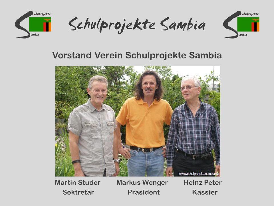Vorstand Verein Schulprojekte Sambia Martin Studer Markus Wenger Heinz Peter Sektretär Präsident Kassier