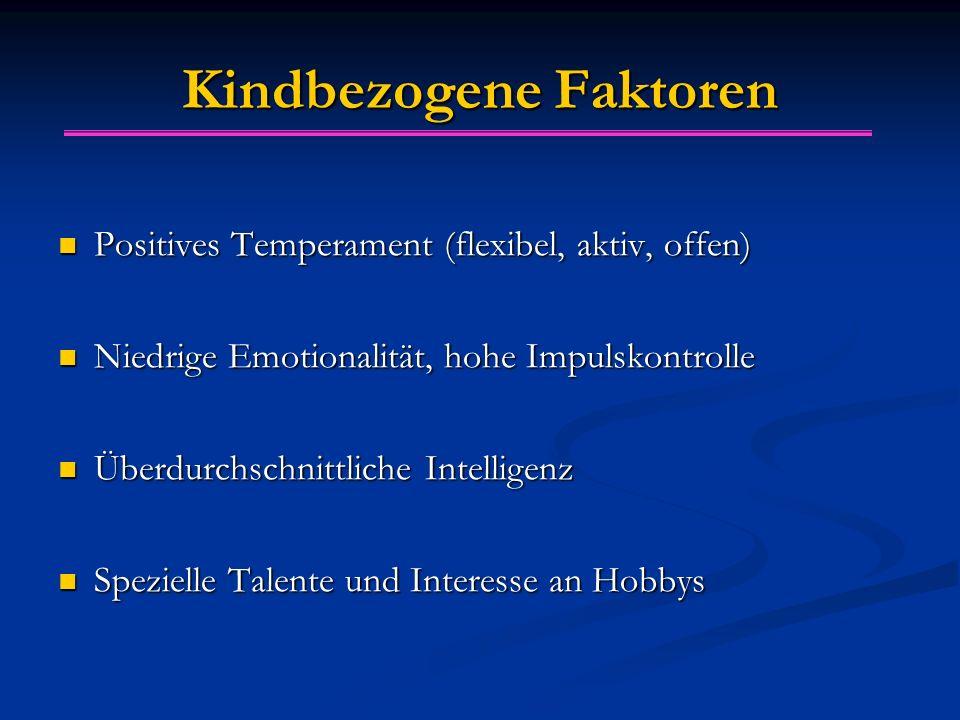 Kindbezogene Faktoren Positives Temperament (flexibel, aktiv, offen) Positives Temperament (flexibel, aktiv, offen) Niedrige Emotionalität, hohe Impul