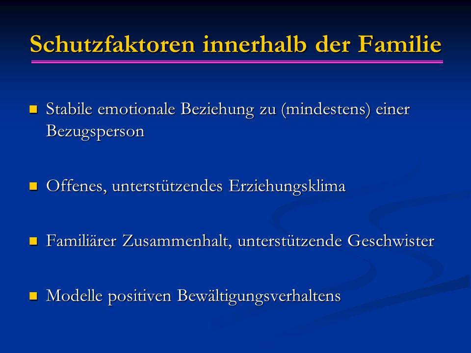 Schutzfaktoren innerhalb der Familie Stabile emotionale Beziehung zu (mindestens) einer Bezugsperson Stabile emotionale Beziehung zu (mindestens) eine