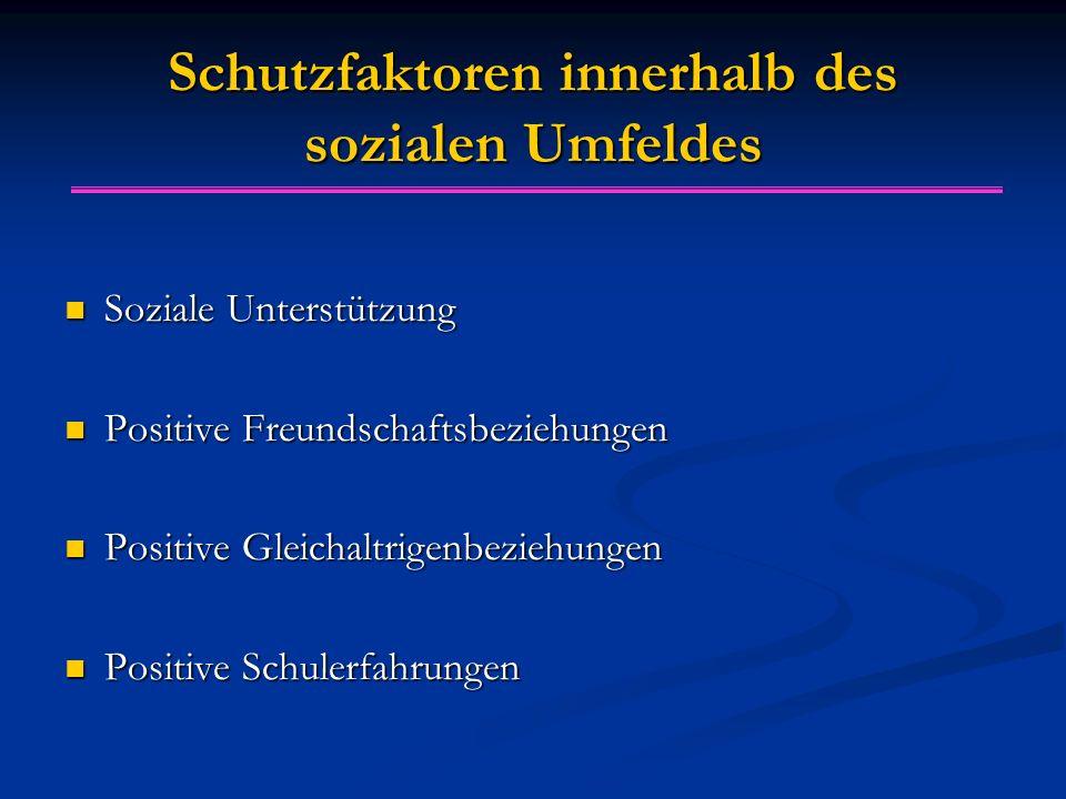 Schutzfaktoren innerhalb des sozialen Umfeldes Soziale Unterstützung Soziale Unterstützung Positive Freundschaftsbeziehungen Positive Freundschaftsbez