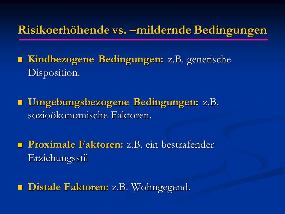 Risikoerhöhende vs. –mildernde Bedingungen Kindbezogene Bedingungen: z.B. genetische Disposition. Kindbezogene Bedingungen: z.B. genetische Dispositio