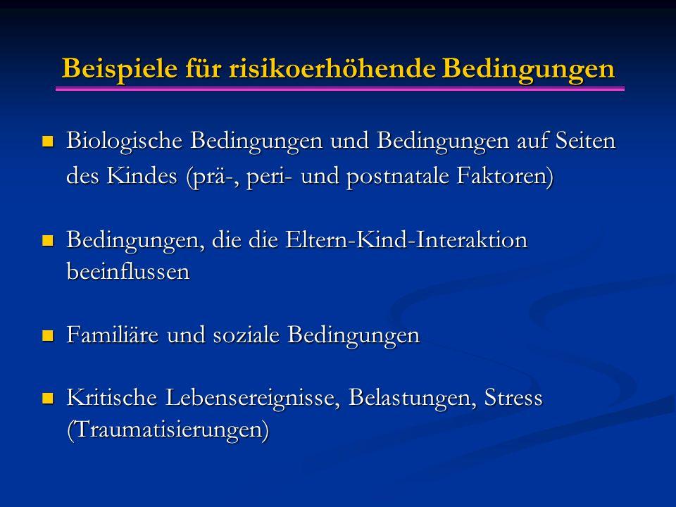 Beispiele für risikoerhöhende Bedingungen Biologische Bedingungen und Bedingungen auf Seiten des Kindes (prä-, peri- und postnatale Faktoren) Biologis