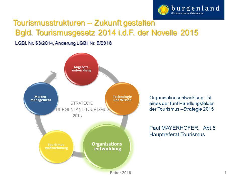 Tourismusstrukturen – Zukunft gestalten Bgld. Tourismusgesetz 2014 i.d.F.