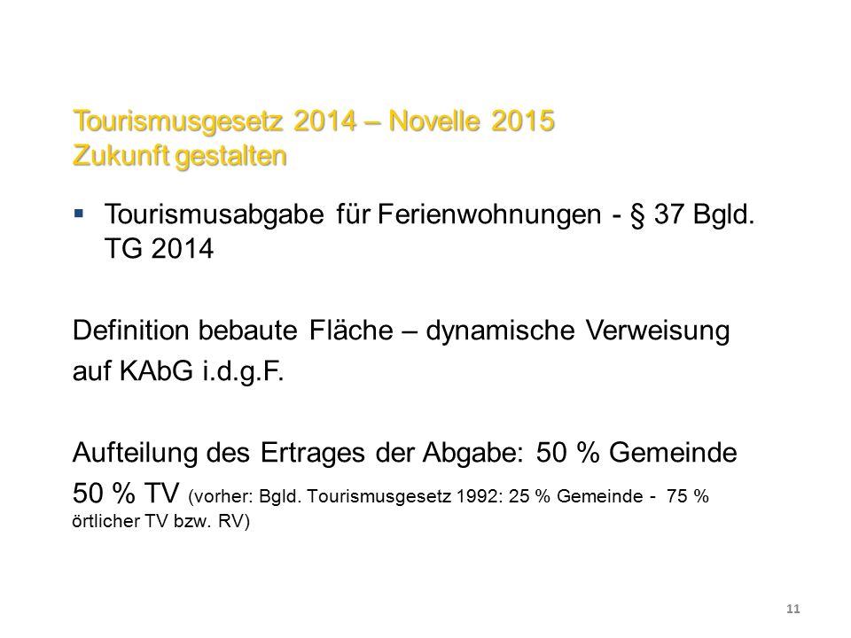 Tourismusgesetz 2014 – Novelle 2015 Zukunft gestalten  Tourismusabgabe für Ferienwohnungen - § 37 Bgld.