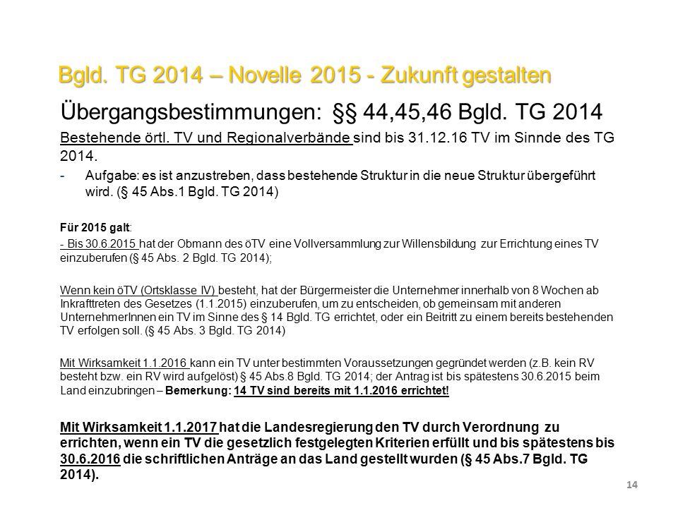 Bgld. TG 2014 – Novelle 2015 - Zukunft gestalten Übergangsbestimmungen: §§ 44,45,46 Bgld.