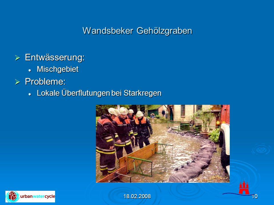 18.02.200810 Wandsbeker Gehölzgraben  Entwässerung: Mischgebiet Mischgebiet  Probleme: Lokale Überflutungen bei Starkregen Lokale Überflutungen bei