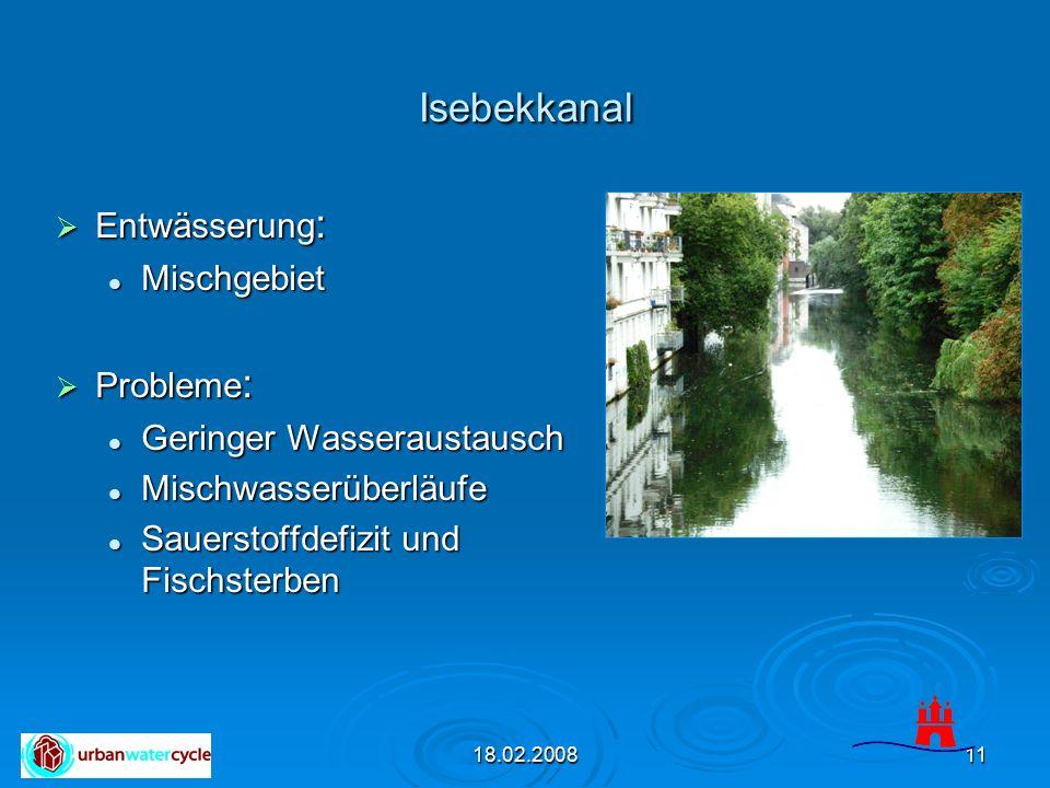 18.02.200811 Isebekkanal  Entwässerung : Mischgebiet Mischgebiet  Probleme : Geringer Wasseraustausch Geringer Wasseraustausch Mischwasserüberläufe